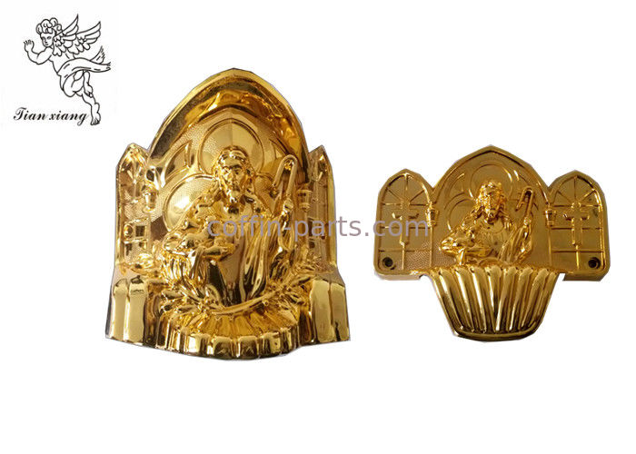 Gold Coffin Corner Christ A# PP Materials , Funeral Accessories Suppliers